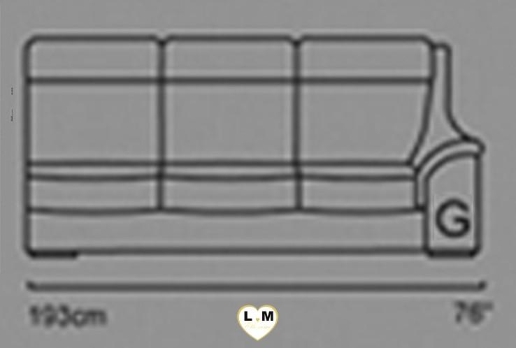 CARINE ANGLE SALON CUIR: Le Bâtard Droit 3 Places - Longueur: 193 cm - Profondeur: 95 cm - Hauteur: 99 cm (G)