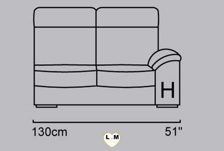 CAROLINE ANGLE SALON CUIR: Le Bâtard Droit 2 places - Longueur: 130 cm - Profondeur: 96 cm - Hauteur: 99 cm (H)