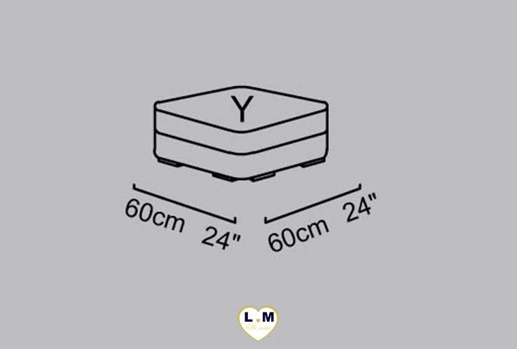 CAROLINE SALON CUIR: Le Pouf  (Y) Longueur : 60 cm x Largeur : 60 cm x Hauteur : 48 cm