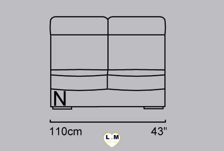 CAROLINE ANGLE SALON CUIR: La Chauffeuse 2 Places - Longueur: 110 cm - Profondeur: 96 cm - Hauteur: 99 cm (N)