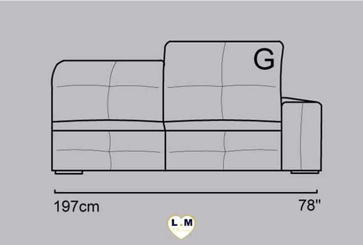 CECILE ANGLE SALON CUIR: Le Bâtard Droit 3 places - Longueur: 197 cm - Profondeur: 116 cm - Hauteur: 75-101 cm (G)