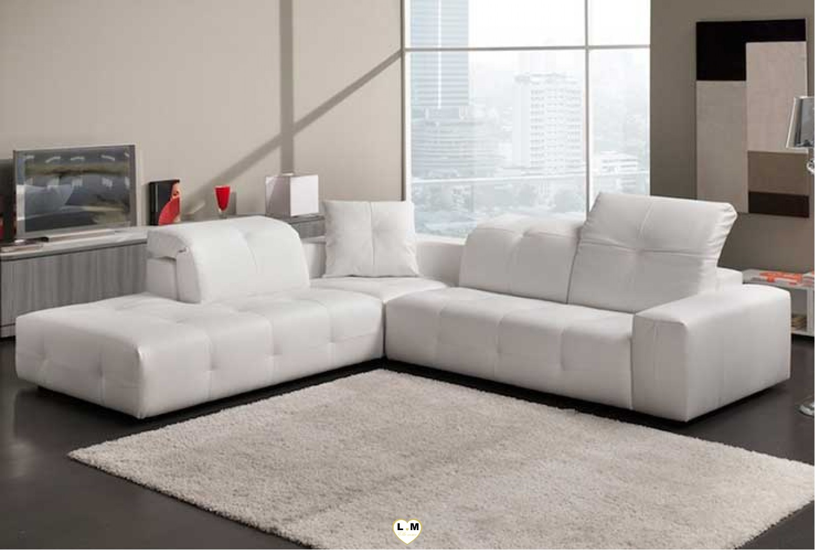 cecile angle ensemble salon cuir lignemeuble com. Black Bedroom Furniture Sets. Home Design Ideas
