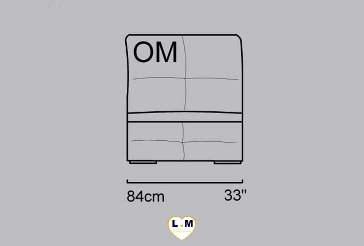 CECILE ANGLE SALON CUIR: La Chauffeuse 1,5 Places - Longueur: 84 cm - Profondeur: 116 cm - Hauteur: 75-101 cm (OM)