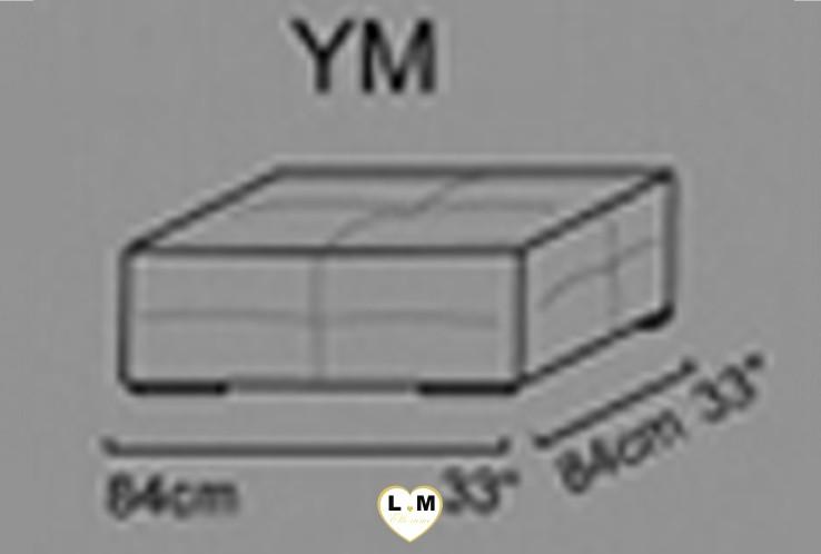 CECILE ANGLE SALON CUIR: Le Grand Pouf Carré (YM) Longueur : 84 cm x Largeur : 84 cm x Hauteur : 40 cm
