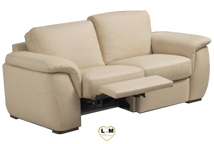 CHERIE RELAX SALON CUIR: Le Canapé 2 places - Longueur: 190 cm - Profondeur: 100 cm - Hauteur: 87 cm (B)