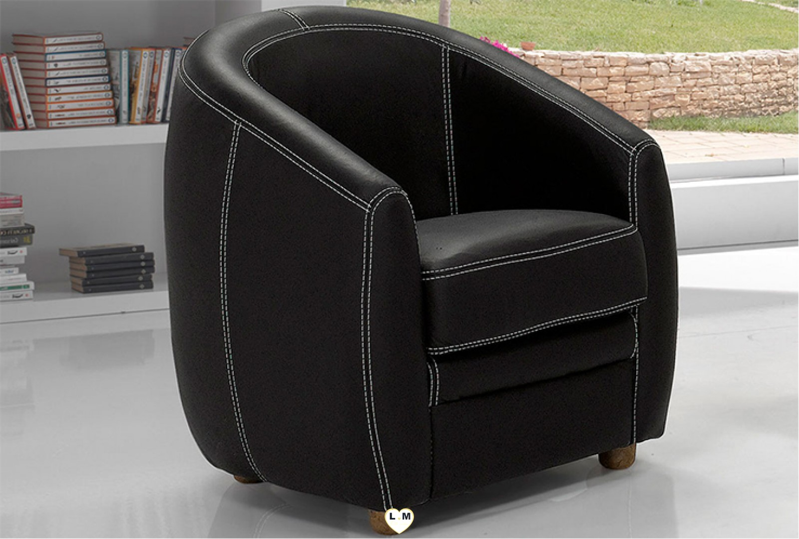 apolline fauteuil cuir cabriolet lignemeuble com. Black Bedroom Furniture Sets. Home Design Ideas