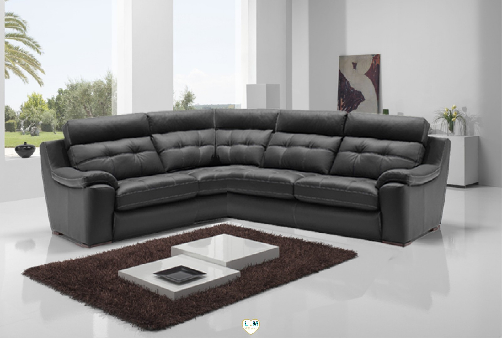 hera angle ensemble salon cuir lignemeuble com. Black Bedroom Furniture Sets. Home Design Ideas