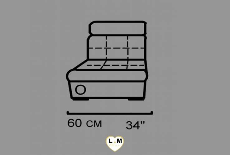 HERA ANGLE RELAX SALON CUIR: La Chauffeuse 1 place - Longueur: 60 cm - Profondeur: 100cm - Hauteur: 92 cm (O)