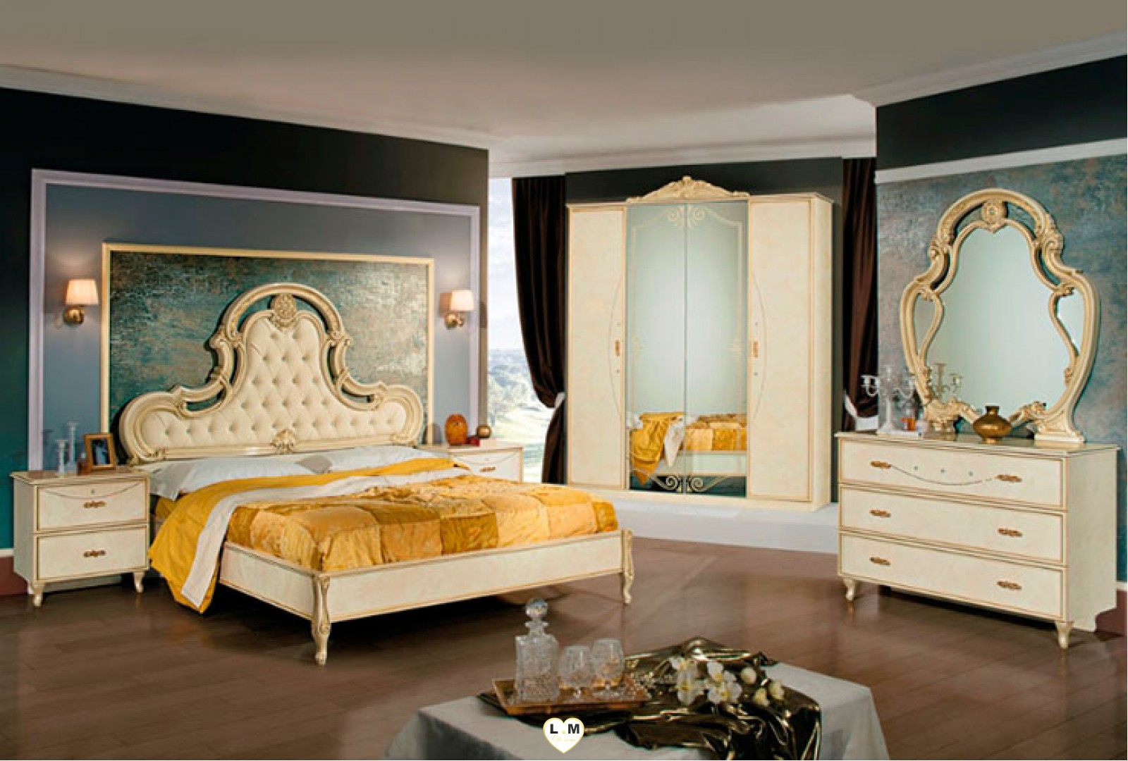 ginevra laque beige vulcano ensemble chambre a coucher lignemeuble com. Black Bedroom Furniture Sets. Home Design Ideas