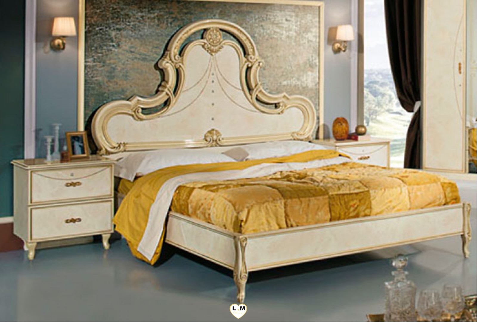 Ginevra laque beige vulcano ensemble chambre a coucher for Chambre a coucher ensemble
