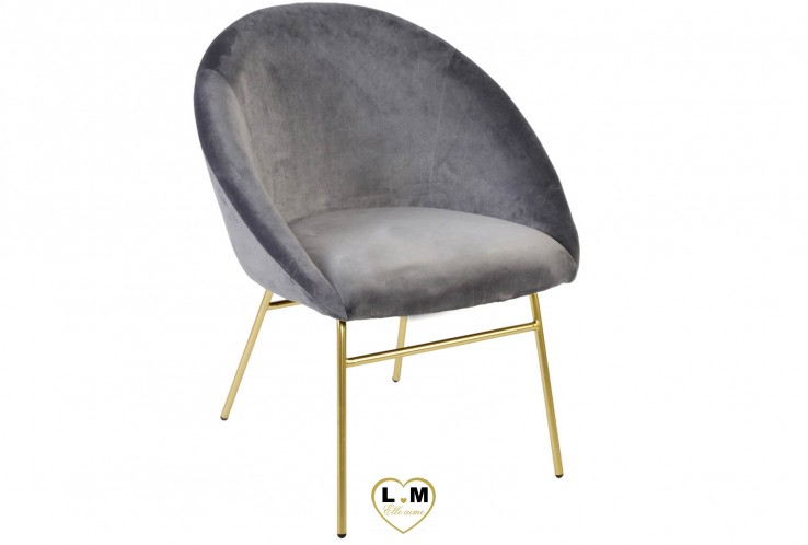 MONROE CHAISE VELOURS GRIS