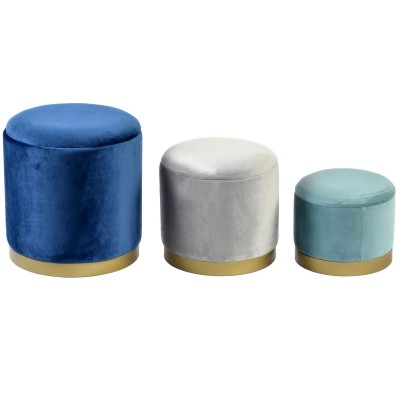 GATSBY SET 3 POUFS VELOURS