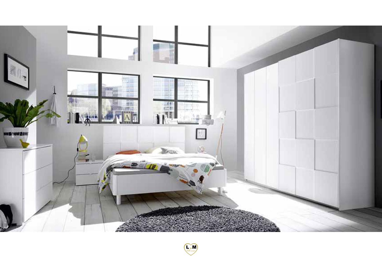 Lyvio Blanc Chambre A Coucher Moderne L Ensemble Avec L Armoire