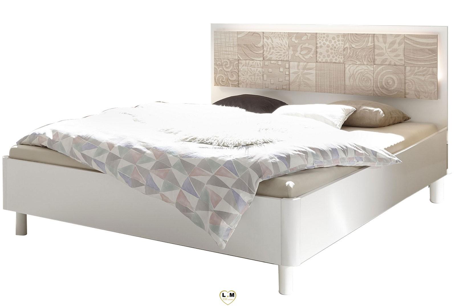 Loly blanc et chene chambre a coucher design l 39 eclairage led tete de lit ligne meuble votre - Eclairage chambre a coucher ...