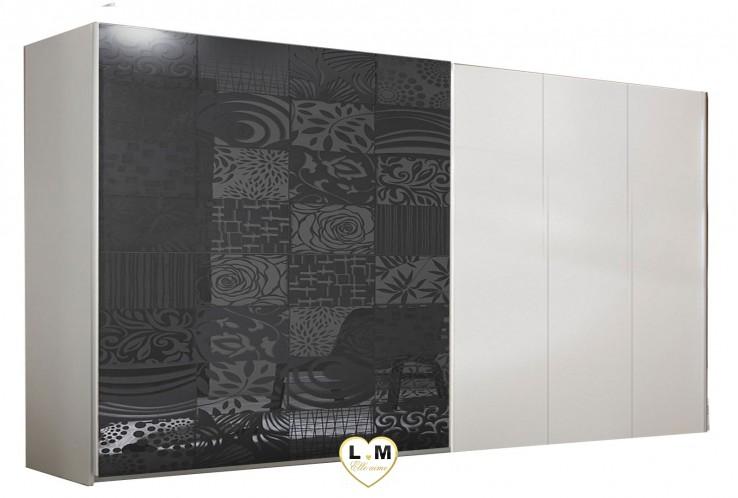 LOLY BLANC ET GRIS CHAMBRE À COUCHER DESIGN : L' Armoire 275