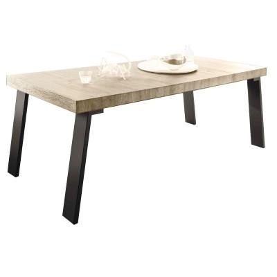LYROY CHÊNE SHERWOOD SÉJOUR SALLE À MANGER INDUSTRIEL : La Table Repas 170 Pied Métal