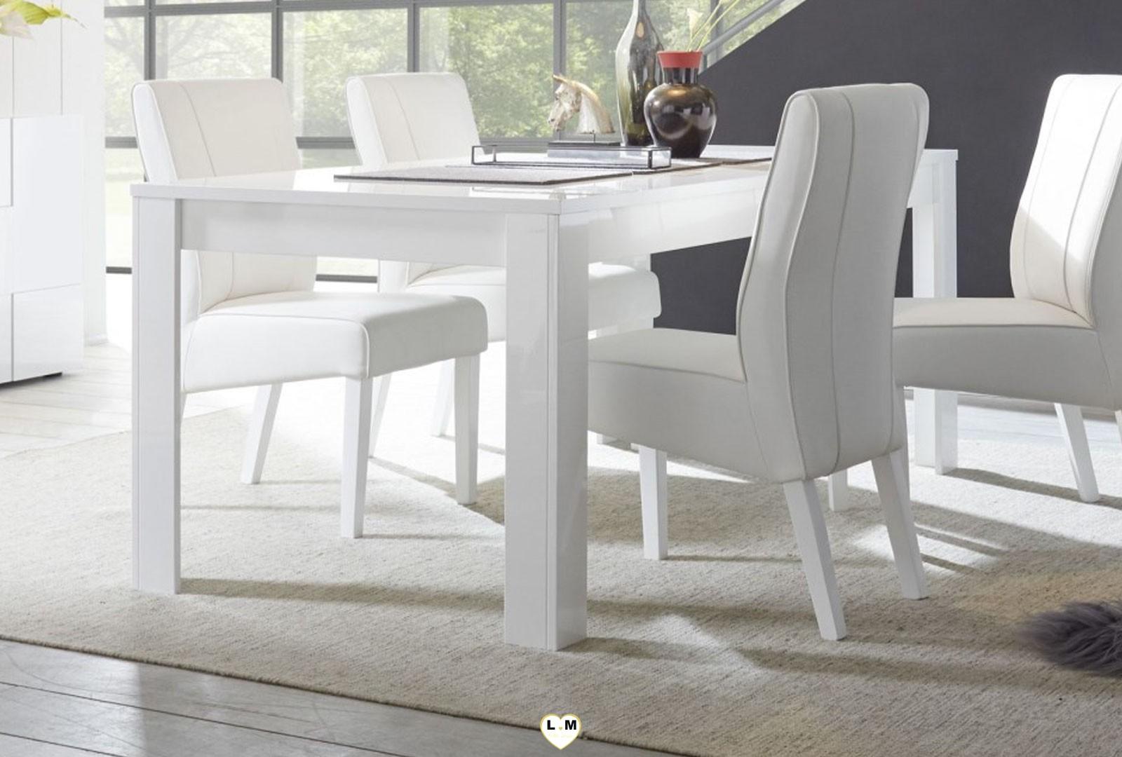 Lyvio laque blanc ensemble sejour salle a manger moderne lignemeuble com for Ensemble salle a manger blanc