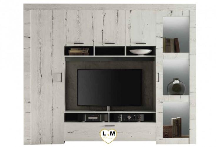 LANDY CHÊNE BLANC SÉJOUR SALLE À MANGER ROMANTIQUE : Le Living Mur TV