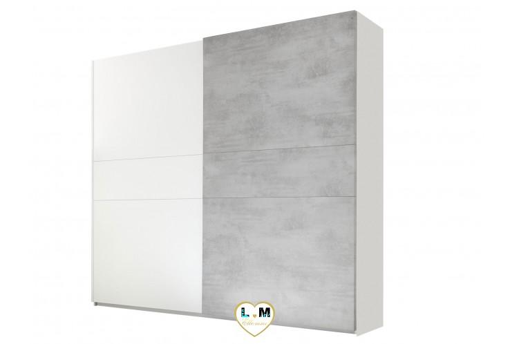 LORENE BLANC ET BETON  ENSEMBLE CHAMBRE À COUCHER MODERNE : L'armoire 220 X 218 cm