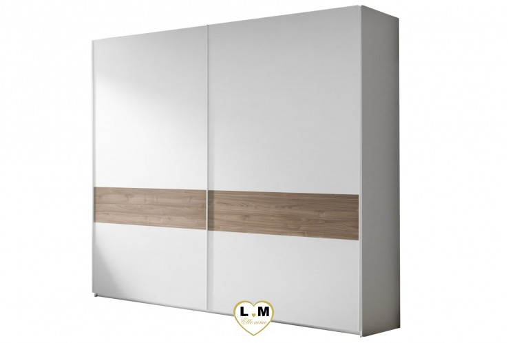 LORENE NOYER ET BLANC  ENSEMBLE CHAMBRE À COUCHER MODERNE : L'armoire 220 X 218 cm