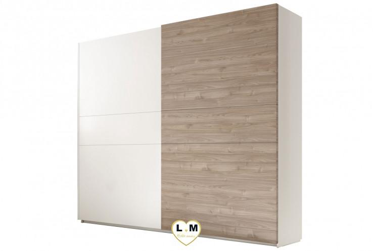 LORENE 2 BLANC ET NOYER  ENSEMBLE CHAMBRE À COUCHER MODERNE : L'armoire 220 X 218 cm