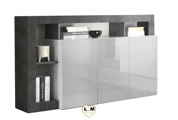 LARISSA LAQUE BLANC BRILLANT ET OXYDE ENSEMBLE COMPOSITION SEJOUR TENDANCE : Le Buffet 3 portes