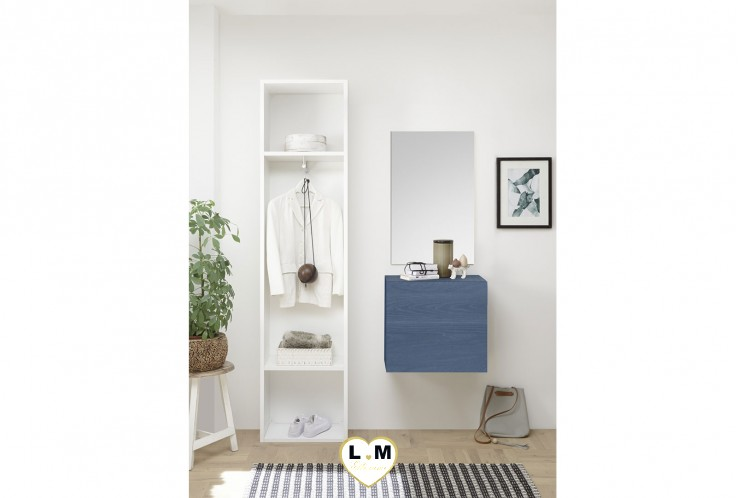 LUDOVICA  MEUBLE ENTREE BLEU : Colonne 2 etagerres + cube 1 porte + miroir