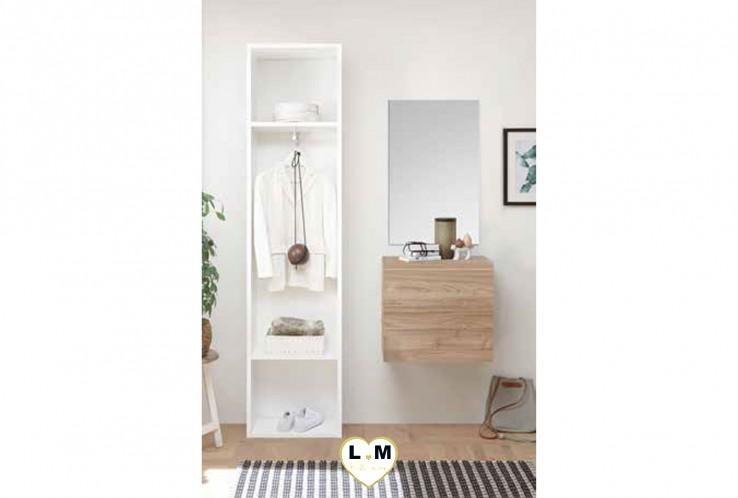 LUDOVICA  MEUBLE ENTREE NOYER : Colonne 2 etagerres + cube 1 porte + miroir
