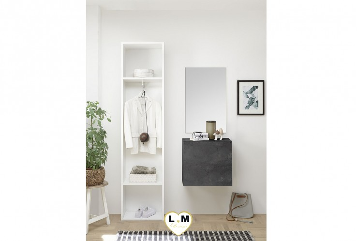 LUDOVICA  MEUBLE ENTREE OXYDE : Colonne 2 etagerres + cube 1 porte + miroir