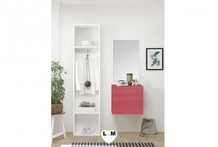 LUDOVICA  MEUBLE ENTREE ROUGE : Colonne 2 etagerres + cube 1 porte + miroir