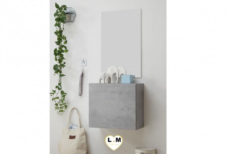 LUDOVICA  MEUBLE ENTREE BETON : Cube 1 porte + miroir