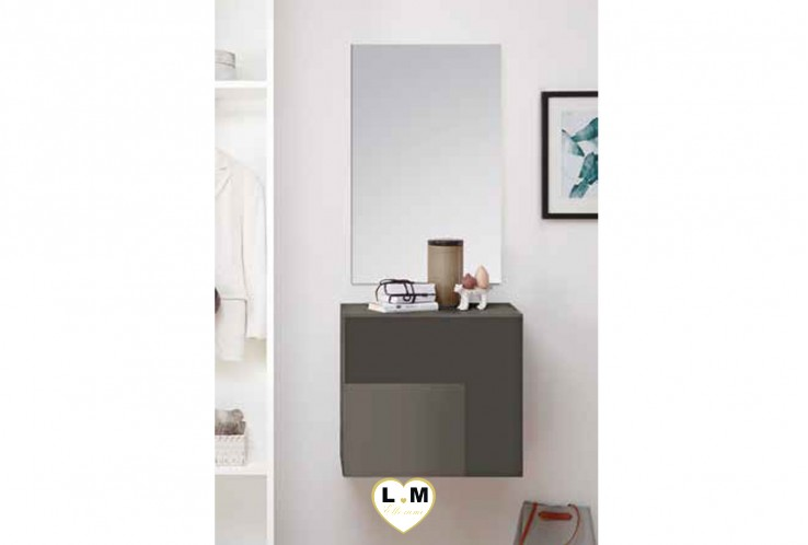 LUDOVICA  MEUBLE ENTREE GRIS : Cube 1 porte + miroir