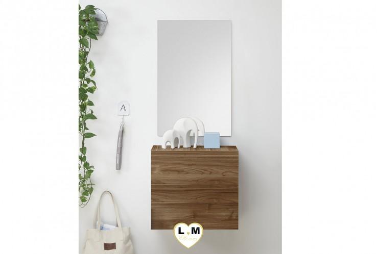 LUDOVICA  MEUBLE ENTREE NOYER FONCE : Cube 1 porte + miroir