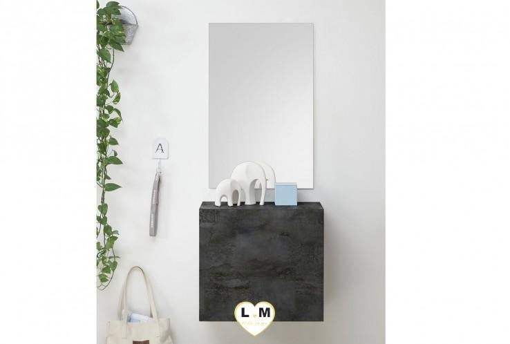 LUDOVICA  MEUBLE ENTREE OXYDE : Cube 1 porte + miroir