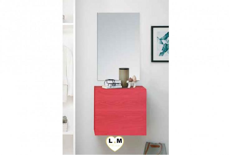 LUDOVICA  MEUBLE ENTREE ROUGE : Cube 1 porte + miroir