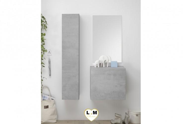 LUDOVICA  MEUBLE ENTREE BETON : element vertical suspendu + cube 1 porte + miroir