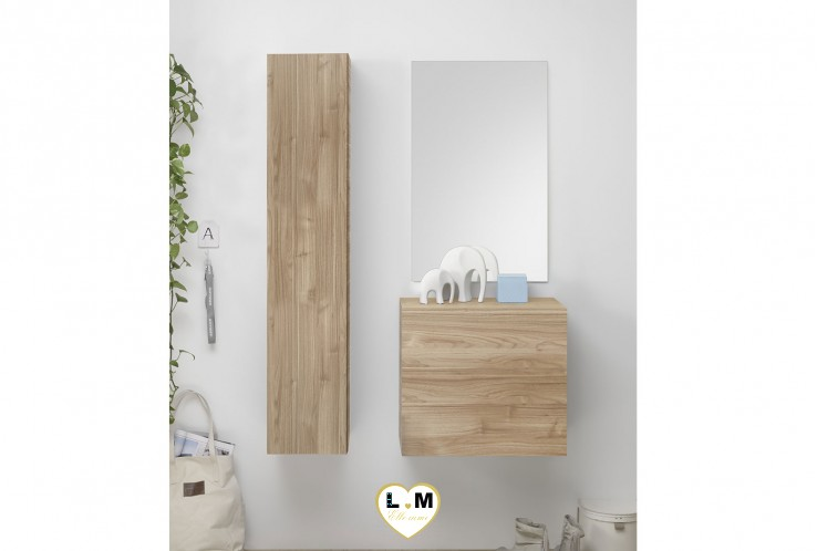 LUDOVICA  MEUBLE ENTREE NOYER : element vertical suspendu + cube 1 porte + miroir