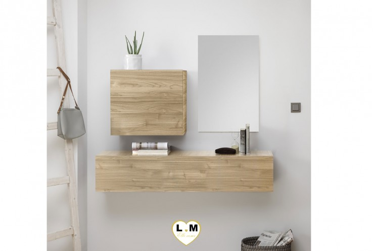 LUDOVICA  MEUBLE ENTREE NOYER : element horizontal suspendu + cube 1 porte + miroir