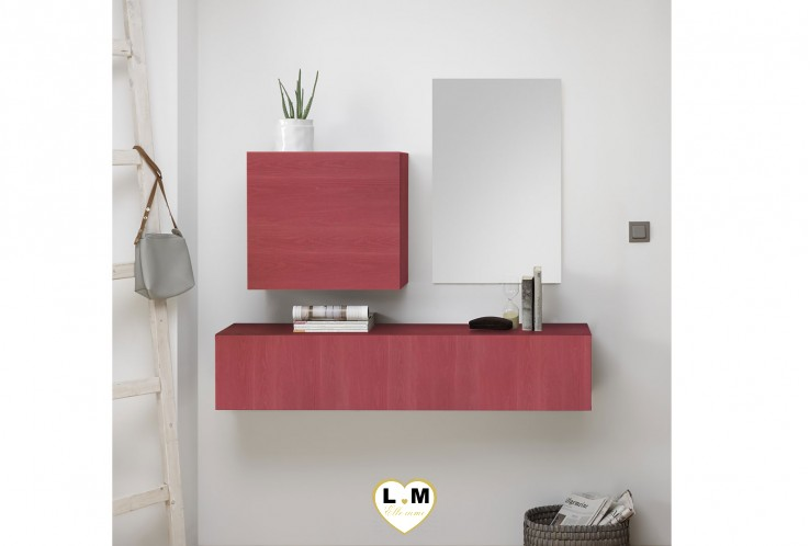 LUDOVICA  MEUBLE ENTREE ROUGE : element horizontal suspendu + cube 1 porte + miroir