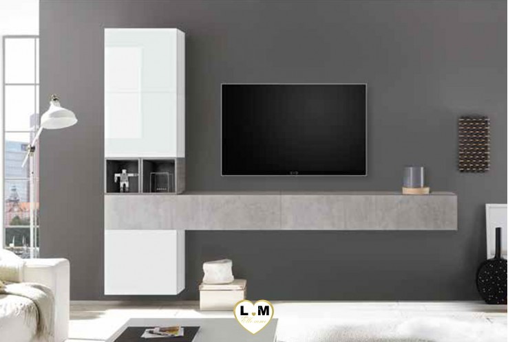 LUDOVICA 53 LAQUE BLANC ET BETON ENSEMBLE COMPOSITION MURALE MEUBLE TV TENDANCE