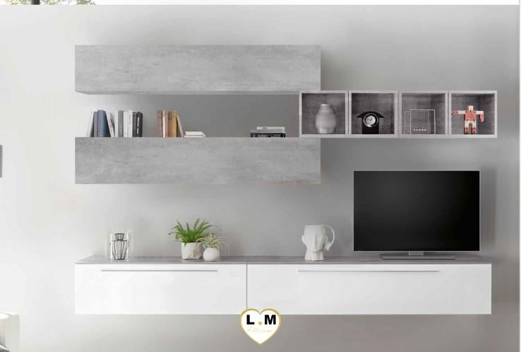 LUDOVICA 33 LAQUE BLANC ET BETON ENSEMBLE COMPOSITION MURALE MEUBLE TV TENDANCE
