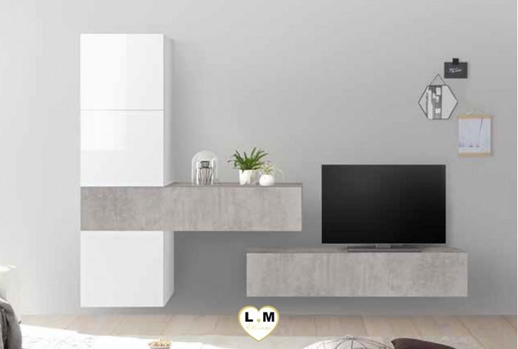 LUDOVICA 34 LAQUE BLANC ET BETON ENSEMBLE COMPOSITION MURALE MEUBLE TV TENDANCE