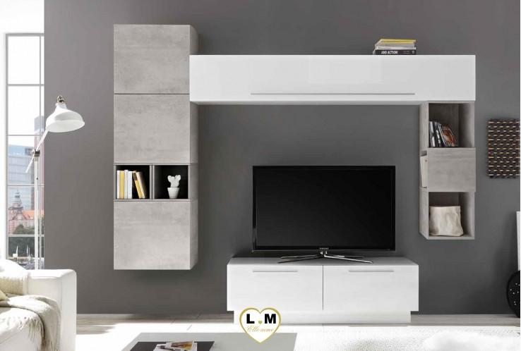 LUDOVICA 19 LAQUE BLANC ET BETON ENSEMBLE COMPOSITION MURALE MEUBLE TV TENDANCE