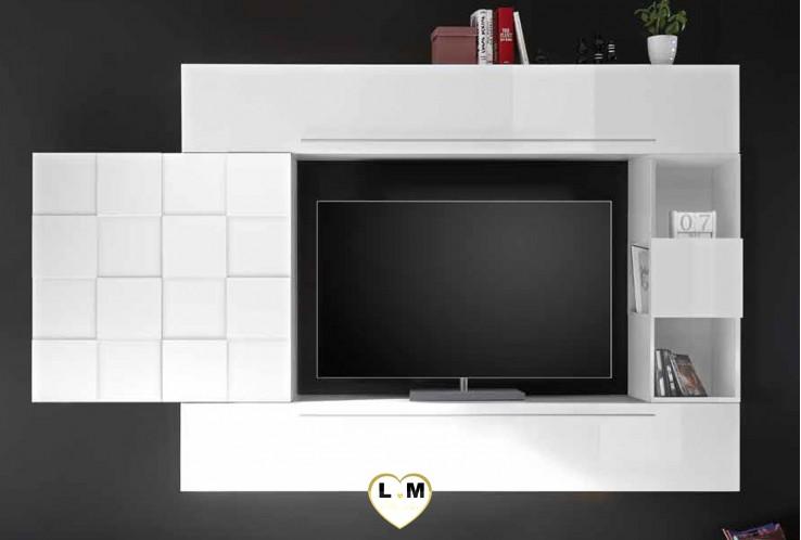 LUDOVICA 21 LAQUE BLANC  ENSEMBLE COMPOSITION MURALE MEUBLE TV TENDANCE