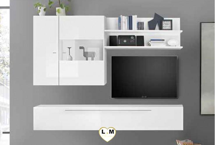 LUDOVICA 25 LAQUE BLANC  ENSEMBLE COMPOSITION MURALE MEUBLE TV TENDANCE