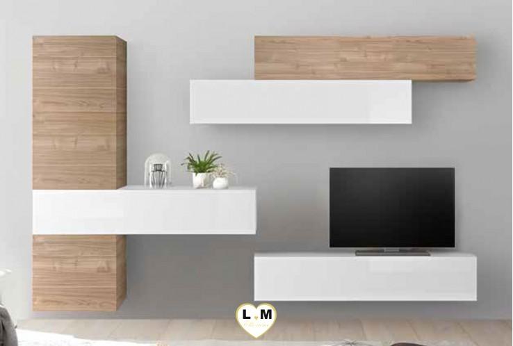LUDOVICA 35 LAQUE BLANC ET NOYER ENSEMBLE COMPOSITION MURALE MEUBLE TV TENDANCE
