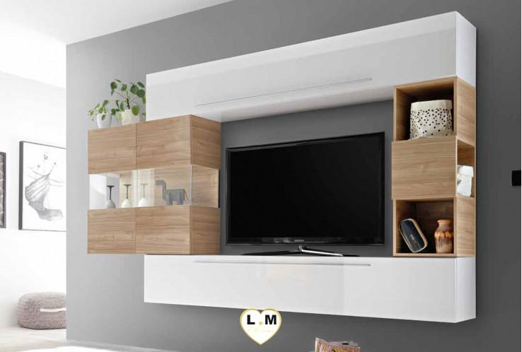 LUDOVICA 20 LAQUE BLANC ET NOYER  ENSEMBLE COMPOSITION MURALE MEUBLE TV TENDANCE