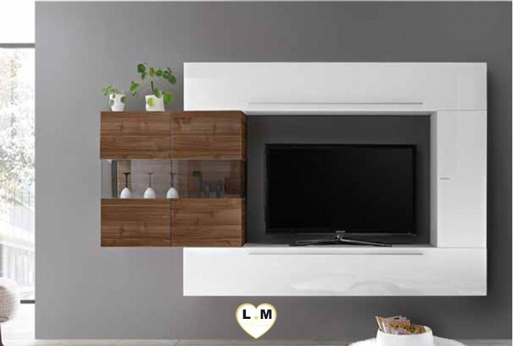 LUDOVICA 24 LAQUE BLANC ET NOYER FONCE ENSEMBLE COMPOSITION MURALE MEUBLE TV TENDANCE