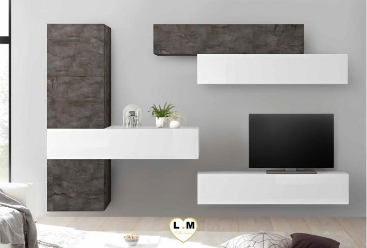 LUDOVICA 37 LAQUE BLANC ET OXYDE ENSEMBLE COMPOSITION MURALE MEUBLE TV TENDANCE