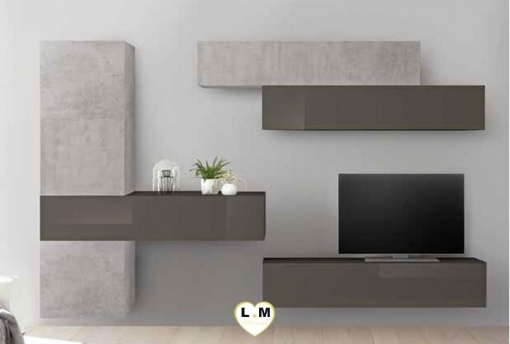 LUDOVICA 35 LAQUE GRIS ET BETON ENSEMBLE COMPOSITION MURALE MEUBLE TV TENDANCE